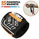 #9: Magnetic Wristband - JIANYI 15 Strong Magnets for Holding Screws, Nails, Bolts, Drill Bits - Best Unique Tool Gift for Men, DIY Handyman, Father/Dad, Husband, Boyfriend, Him, Women (Black)