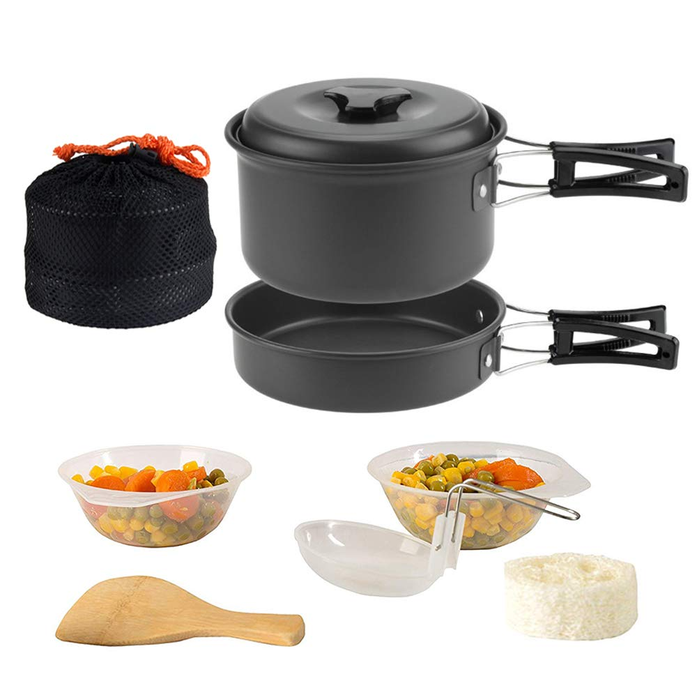 ShellKingdom Outdoor Cookware Set,Non-Stick Camping Cookware Set and Backpacking Portable Picnic Cookware Set for Outdoor,Hiking,Camping,Trekking,1-2 Person