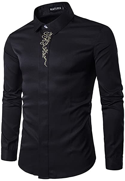 b0e4672442e6 WHATLEES Mens Solid Long Sleeve Slim Fit Embroidery Overlap Design Button  Down Dress Shirt B403-