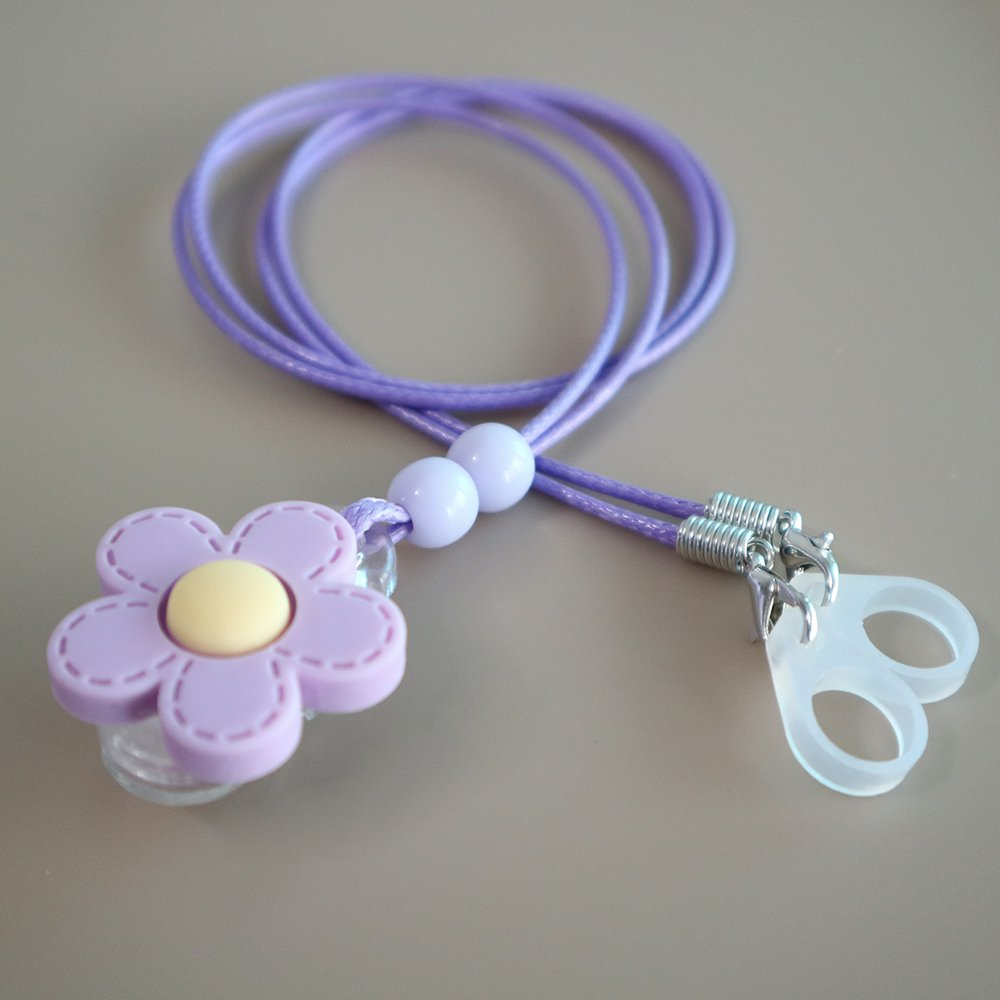 BTE Hearing Aids Clip Safty Protection Accessory w/Replaceable Silicone Loop (Purple Flower)