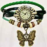 Vintage Style GREEN Leather Strap With Butterfly Pedant Fashion Watch For Women Girls Students