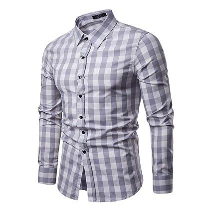 Luxury Stylish Men/'s Slim Fit Casual Shirts Long Sleeve Check Dress Shirts Tops