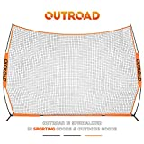 Outroad Baseball Nets for Batting & Pitching 7 x 7/5 x 5- Portable Practice Net w/Bow Frame &Strike Zone Target + Ball Caddy + 12x9 FT Barrier Net - Portable Sports Barricade Practice W/Carry Bag