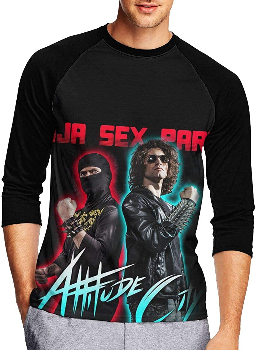 Ninja Sex Party Mens 3/4 Long Sleeves Baseball Tee Shirt Round Neck T-Shirt