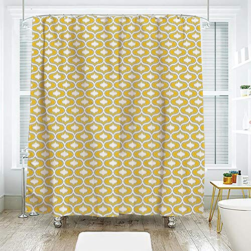 Oval Narrow Shaped Natural (scocici Simple Creative Bath Curtain Suit Shade Curtain,Ikat,Oval Shaped Design Vivid Color Ogee Motif Indonesian Culture Inspired Pattern Decorative,Yellow Grey White,70.8