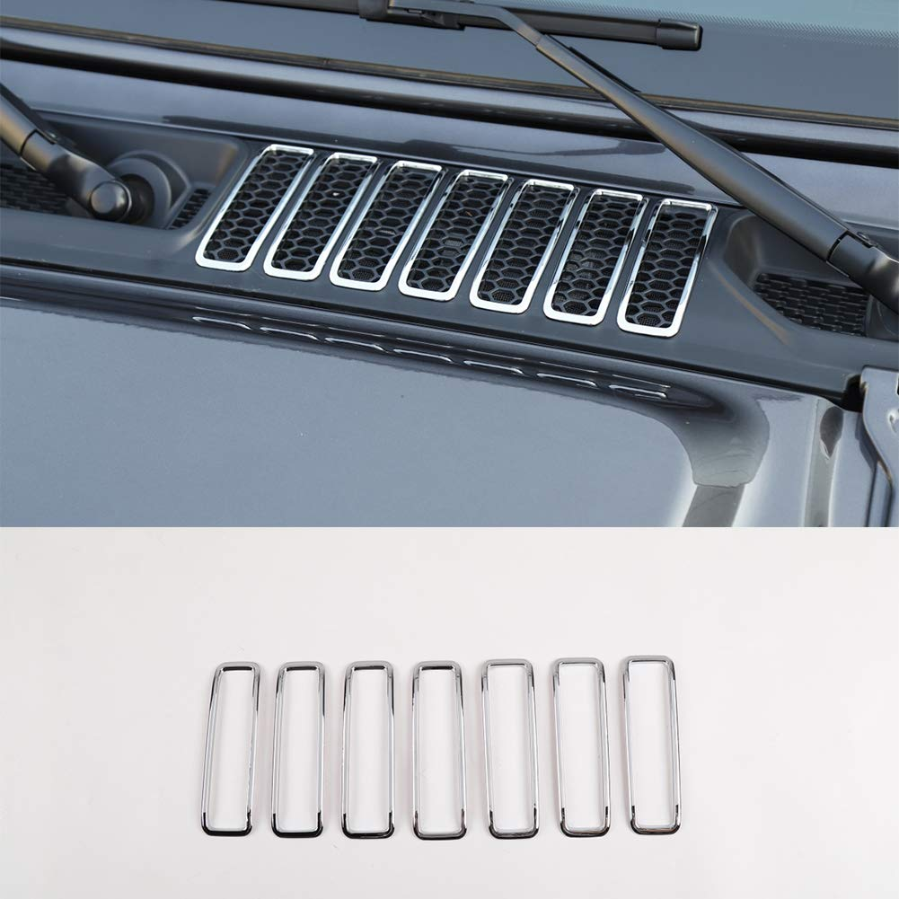 Hgcar Chrome ABS Engine Inlet Cover Air Intake Hood Vent Scoop 7pcs for Jeep Wrangler JL 2018+