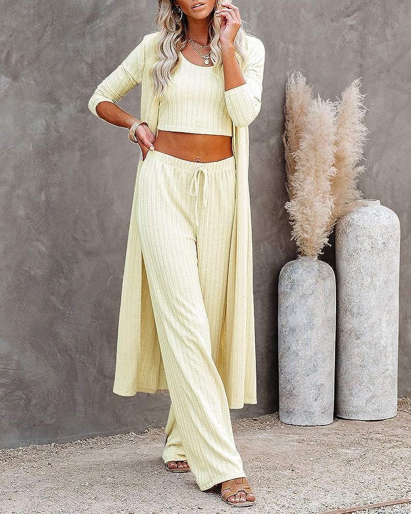 Womens Knitted 3PCS Tracksuits Set Lounge Wear Crop Top Cardigan Pants Suit