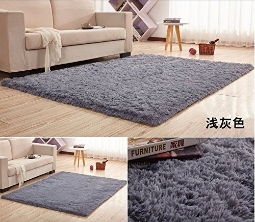 HUAHOO Super Soft Indoor Modern Shag Area Silky Rugs Dining Room Living Room Bedroom Rug Baby Nursery Rug Childrens Kids Room Rug Carpet Floor Mat for Home Decorate (6.5' x 8.2', Gray)