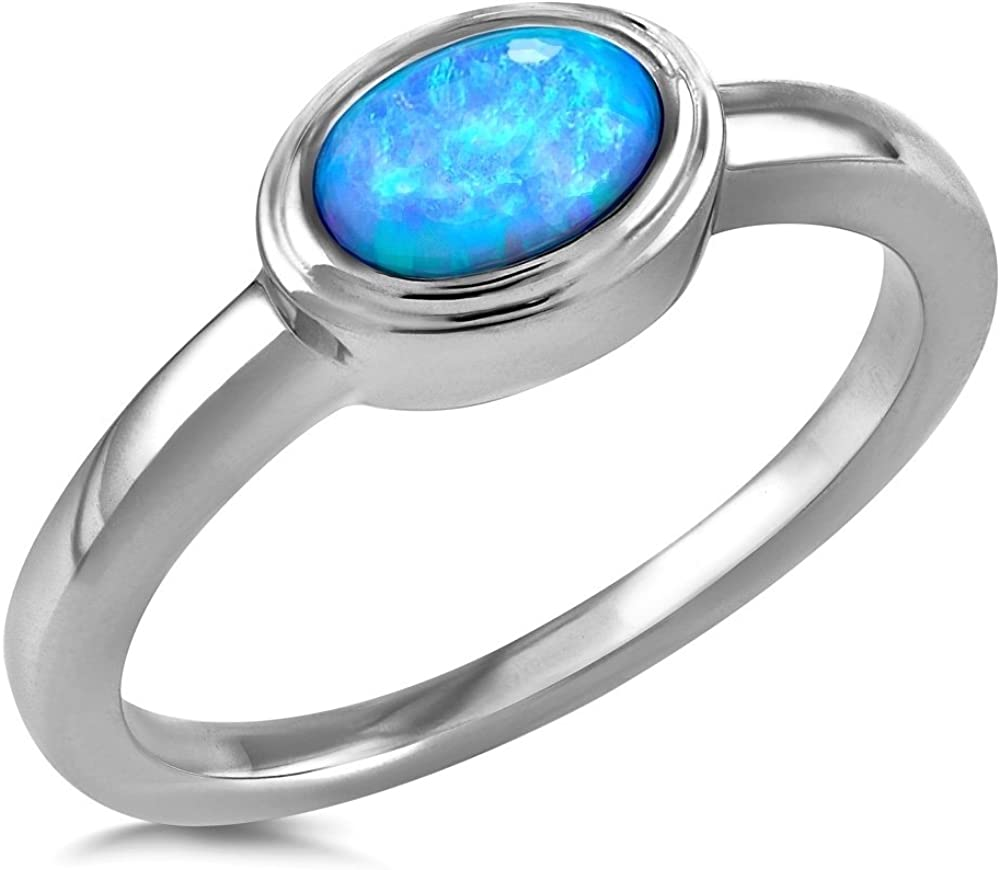Q Solid Silver Blue Opal Ring Wave Design Sterling 925 Stamped Size K