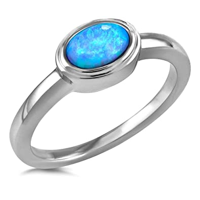 Dew Sterling Silver and Blue Synthetic Opal Oval Cab Ring trcEs