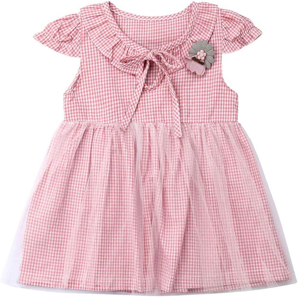 Todder Little Baby Girl Plaid Short Sleeve Round Neck Tutu Tulle Long Dress