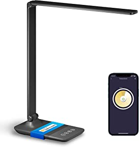 Meross Smart LED Desk Lamp, Dimmable Table Lamp Works with HomeKit, Alexa and Google Home, 2.4GHz WiFi Eye-Caring Desk Light for Home Office with Tunable White, Remote Control, Schedule and Timer