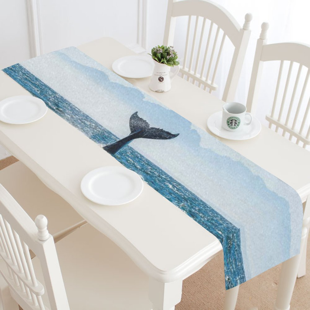 Sea Ocean Wave Table Runner Home Decor 14 X 72 Inch, Sea Animal Whale Table Cloth Runner for Wedding Party Banquet Decoration