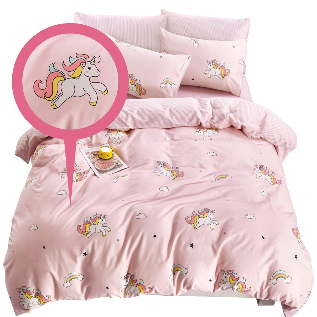 ELLA & KAY Unicorns Duvet Cover Set/Unicorn Girls Bedding/ 100% Cotton Kids Zipper Bedding/Full Reversible Girls Premium Comforter Cover/ 3 Piece Queen Toddler Bedding Set for Girls