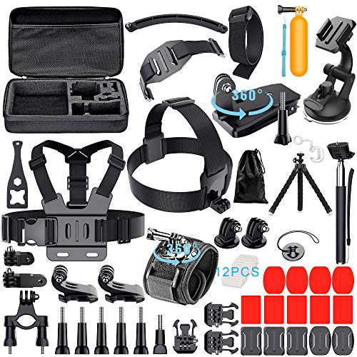 Leknes 59-in-1 Camera Accessory Kit for GoPro Hero 7 6 5 Session 4 3+ 3 2 1  Black Silver SJ4000/ SJ5000/ SJ6000 DBPOWER AKASO Xiaomi Yi APEMAN WiMiUS