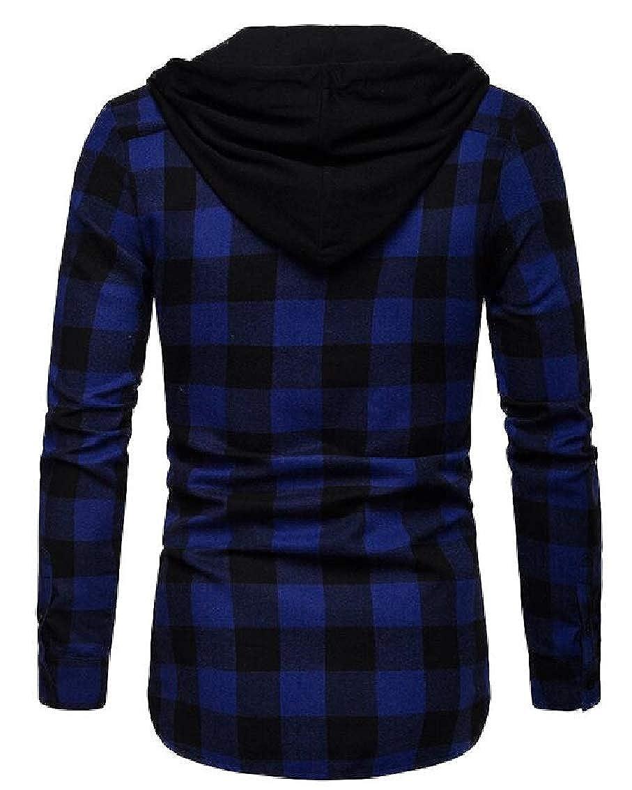 YULEgowinner Mens Plaid Buffalo Fashion Hooded Plus Size Long-Sleeve Shirts