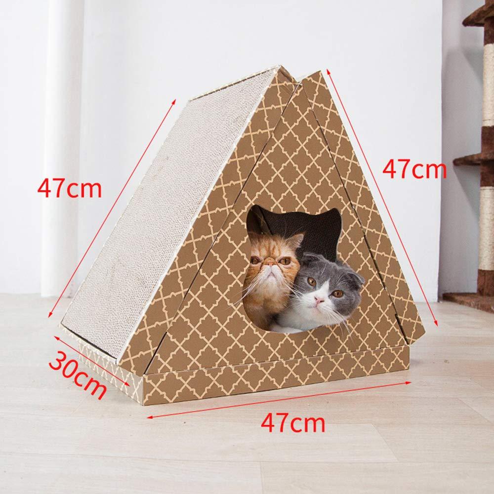 Pattern Triangular Cat House Cat Scratch Board , Sharpening Device Corrugated Paper , Cat Litter Wear Pattern 47Cm47Cm30Cm