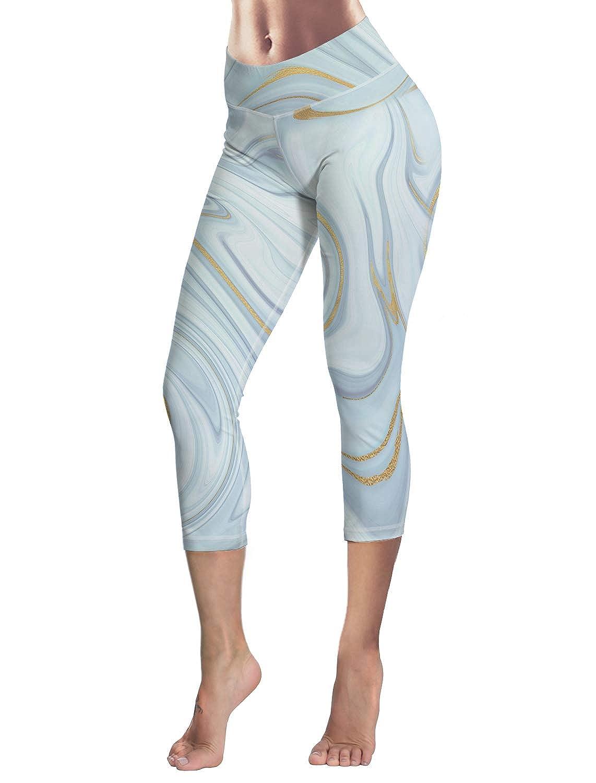 Anmevor Women Leggings Tummy Control Pants Yoga Capris for Fitness Riding Running