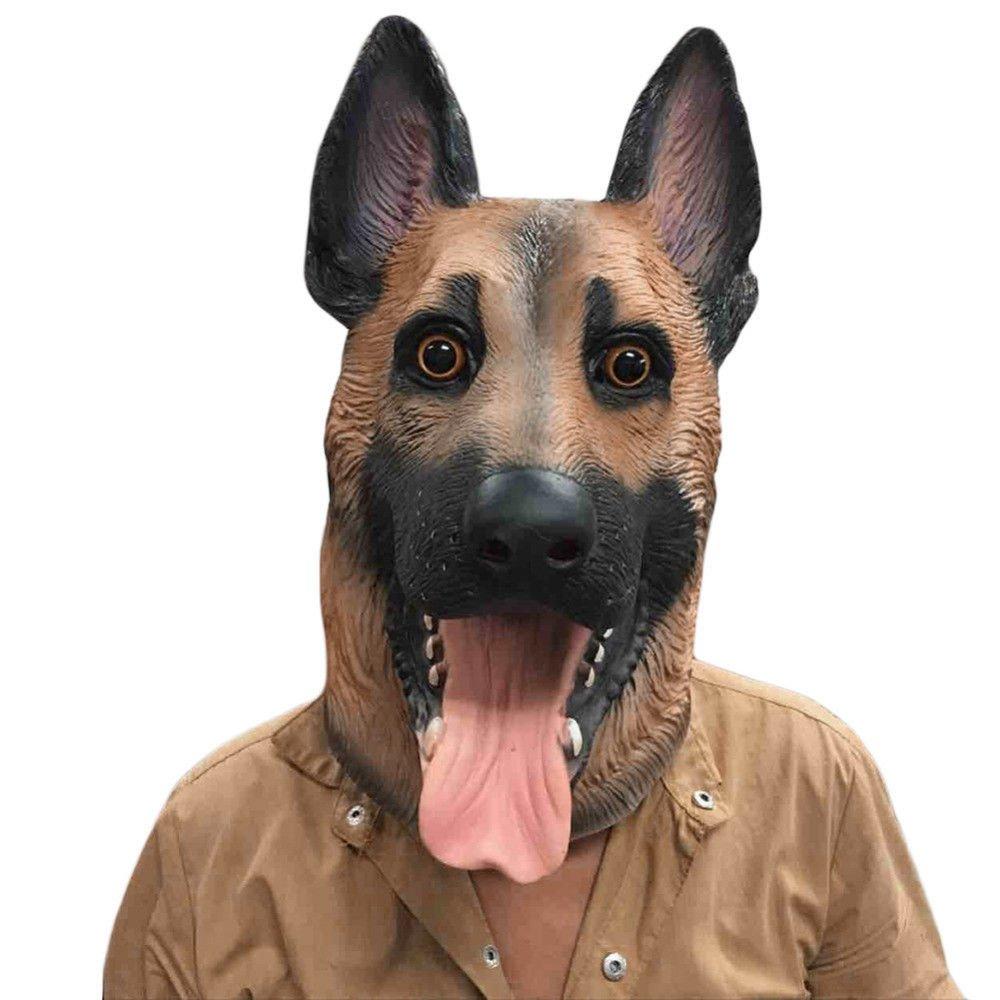 German Shephered Dog Horror Halloween Mask Adult Mens Fancy Dress Costume