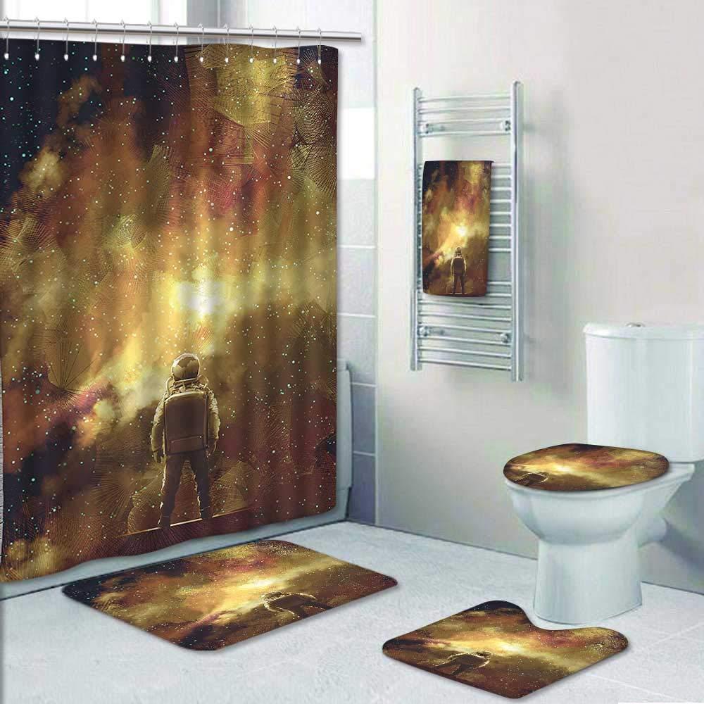AmaPark 5 Piece Bathroom Rug Set/ 3 Piece Bath Rugs with Fabric Shower Curtain and Bath Towel,House Decor Cosmonaut Boy Standing Against Cosmos Nebula Themed Solar Artprint Tan Black Bathroom Sets