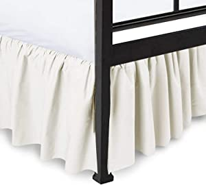 Ras Decor Linen Dust Ruffle with Split Corner Ruffled Gatherd Bed Skirt with Platform Three Sided Coverage - Ivory, King BedSkirt, Easy Fit up to 15