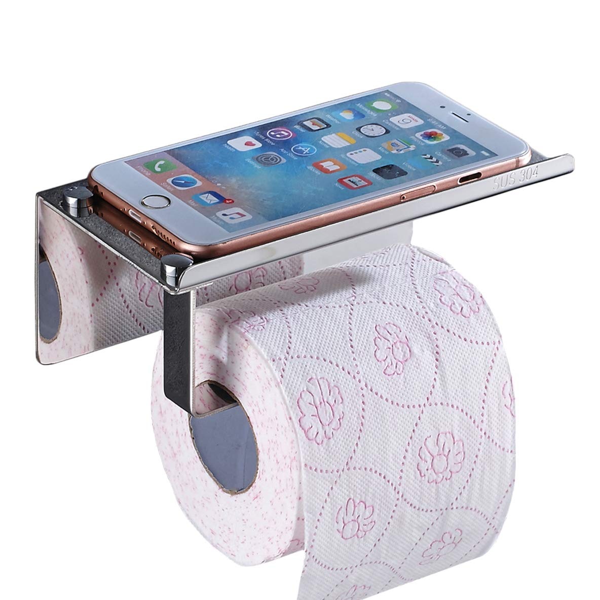 Toilet Paper Holder, No-Drilling SUS304 Stainless Steel Bathroom Tissue Holder with Mobile Phone Storage Shelf, 3M Self-Adhesive
