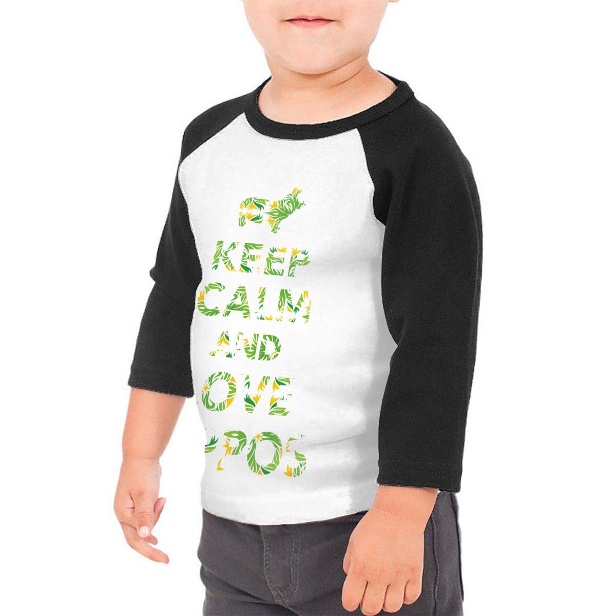 Boys Girls Kids /& Toddler Keep Calm and Love Hippos Long Sleeve Tees 100/% Cotton