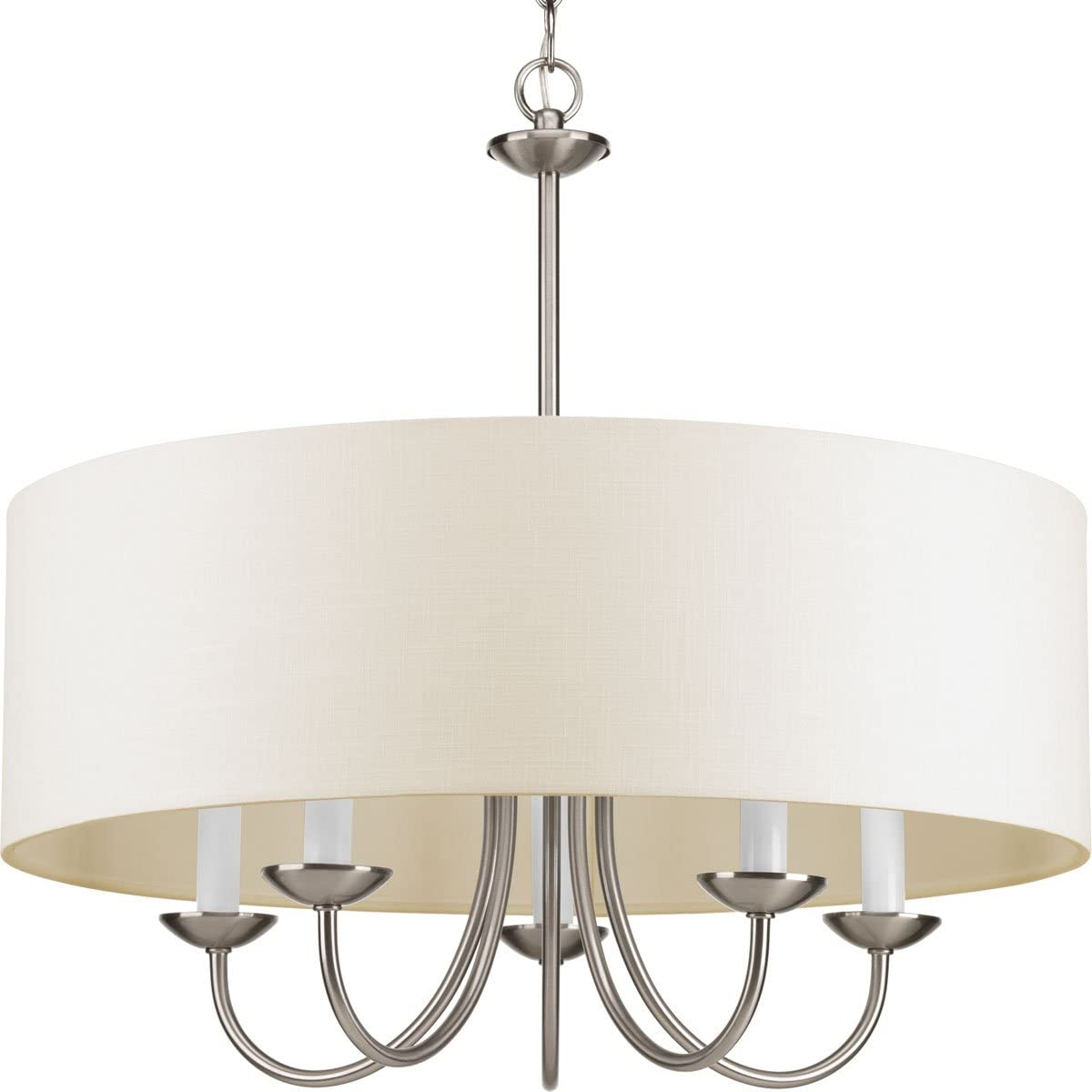 Progress Lighting P4217-09 5-Lt. Chain Hung Fixture with Off-white linen fabric shade