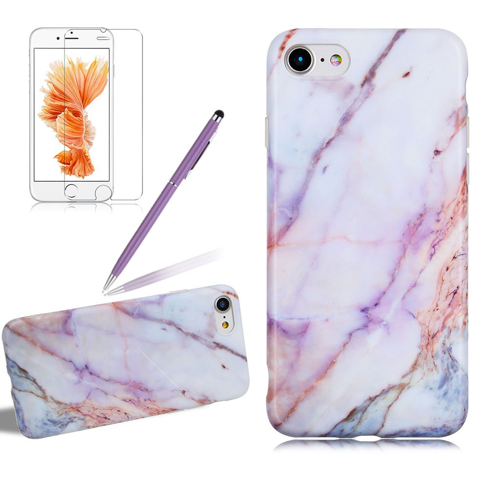 Ultra Thin Marble Design Case Cover For Iphone 7 PLUS, Girlyard Creative Frosted Marble Pattern Case Cover Slim Fit Matte Marble Series Soft Flexible TPU Protective Case Cover For Iphone 7 PLUS 5.5 Inch, Pink/Gold