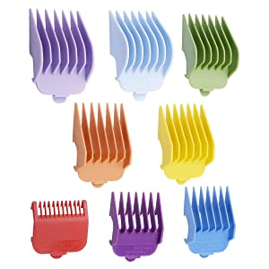 "8 Packs Professional Hair Clippers Guides Combs - 1/8"" to 1,Attachment Guide Comb,Replacement Guards Set-Compatible with All Full Size Wahl Clippers/Trimmers #3170-400,Colorful"