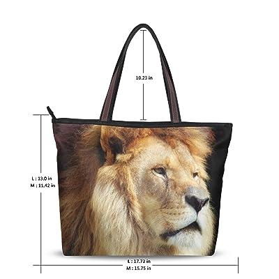 Women's Fashion Handbag Painting Amazing Lion Face Serious Shoulder Bags Tote Bags