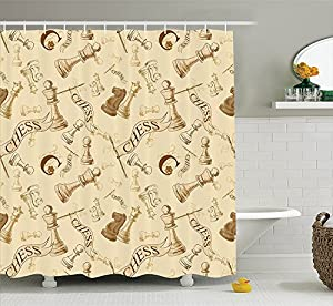Beige Decor Shower Curtain Set Various Sized Chess Game Pieces Players Vintage Syle Retro Backgound Urban Bohemian Decorative Bathroom Accessories Beige