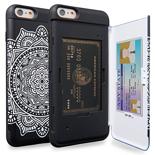 S Plus Wallet Case Pattern Mandala with Hidden ID Slot Credit Card Holder Hard Cover & Mirror for iPhone 6S Plus/iPhone 6 Plus - Dreamcatcher ()