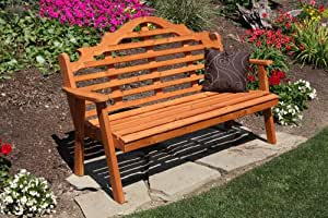 Cedar Outdoor 6 Foot Marlboro Garden Bench - STAINED- Amish Made USA -Natural