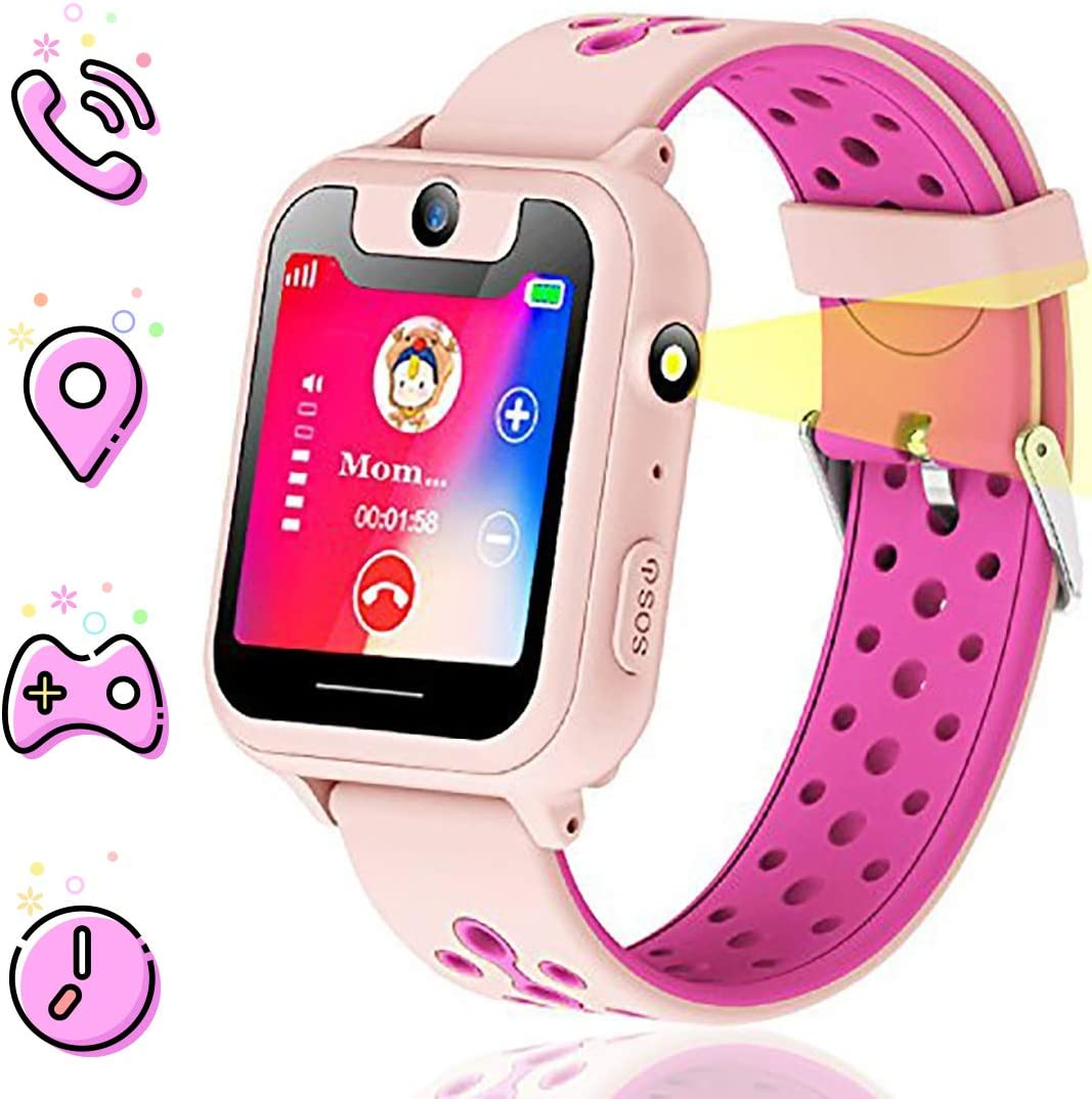 Themoemoe Kids smartwatch, Kids GPS Watch Gifts for 4-12 Year Old Girls Touchscreen Camera Game Compatible with 2G T-Mobile Birthday Gift for Kids (S6-Pink)