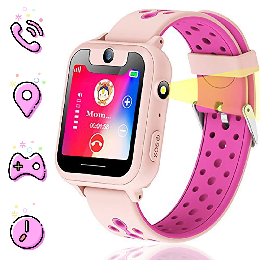Themoemoe Kids smartwatch, Kids GPS Watch Gifts for 4-12 Year Old Girls Touchscreen Camera Game Compatible with 2G T-Mobile Birthday Gift for Kids(S6-Pink) by Themoemoe