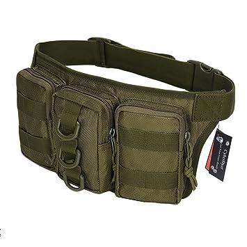 CYBERDYER táctico militar Hip Cinturón bolsa Fanny Pack Senderismo Montañismo Equitación deportes al aire libre bolsa de cintura, Verde ejército: Amazon.es: ...