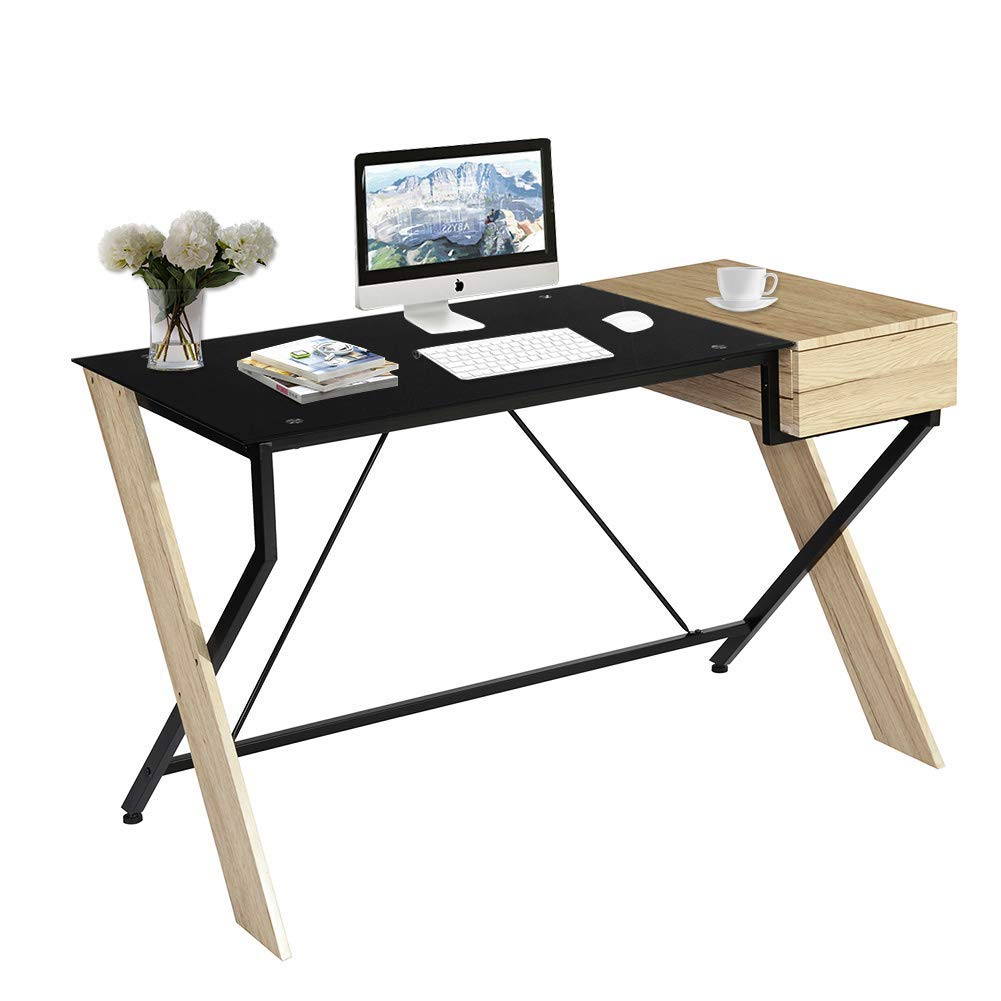 GreenForest Computer Desk with Drawer 47 Inch Wood and Glass Desktop Home Office Desk PC Laptop Workstation, Two Tone Color