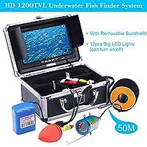KKmoon 50M Subacquea Ecoscandagli Fish Finder HD 1200TVL Telecamera per Ghiaccio/Mare/Fiume Pesca con Monitore LCD da 7 Pollici