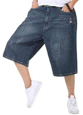 6abc7fc11ad Cromoncent Men s Summer Plus Size Short Pants Hippie Wide Leg Capri Denim  Shorts Dark Blue XXS