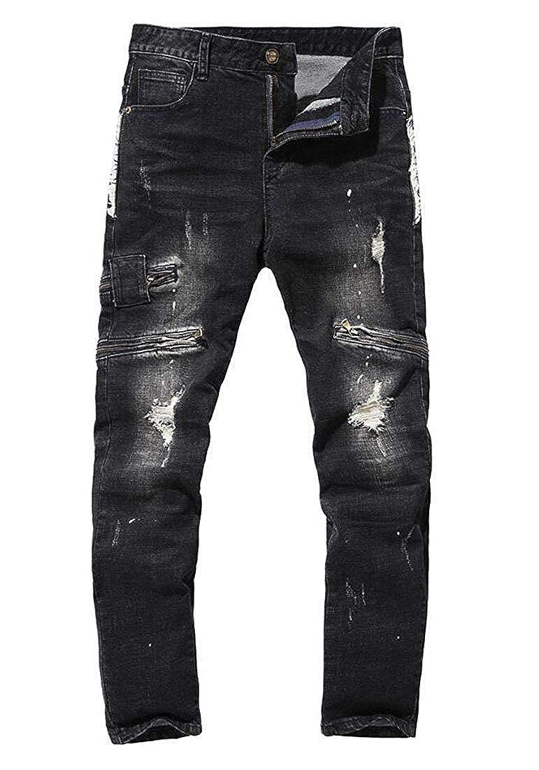 Hanglin Trade Mens Stretch Ripped Biker Jeans Black