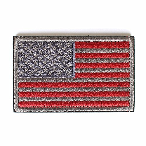 USA Morale Tactical Patch American Flag Patch with Velcro for Molle Equipped Backpacks, Bags Operator Hats, and Uniforms (ATACS Silver, 2