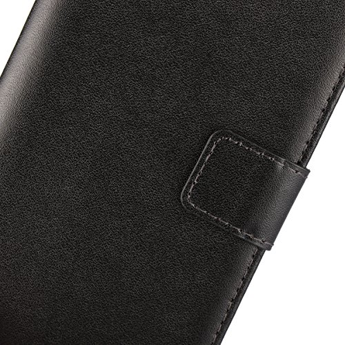 iCoverCase Compatible with Sony Xperia Z5 Compact Case, Premium Leather Case [Kickstand & Magnetic Closure] [Card Slot] Shockproof Folio Flip Wallet Leather Case [Slim Fit] -Black