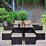 NEW YEAR NEW START Outsunny Deluxe 9Pcs Rattan Wicker Dining Sofa Table Set Outdoor Patio Furniture with Aluminum Frame, Cushion and Storage Space