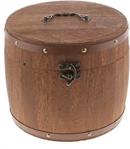 Fityle Large Wooden Barrel Tea Canister Kitchen Storage Caddy with Latch Lock for Tea Bag/Loose Tea/Flour/Coffee/Bean/Food Preserve - L
