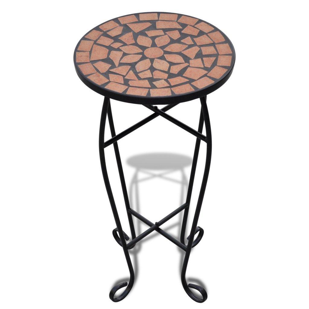Festnight Tavolino per Piante in Metallo Modello Mosaico Terracotta