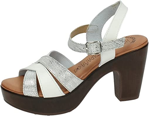 MADE IN SPAIN 221-26NR Sandalias Planta Gel Mujer Sandalias TACÓN Blanco 39: Amazon.es: Zapatos y complementos