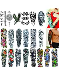 a690dc199 Full Arm Temporary Tattoos 20 Sheets,Tattoo Sleeves for Men and Women  Waterproof Fashion Removable