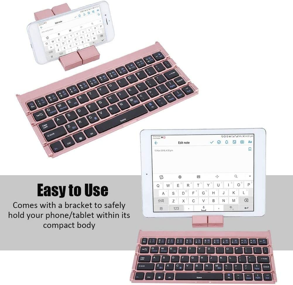 Rose Gold Rose Gold Wendry Ultra-Thin Foldable Wireless Keyboard Universal Foldable Wireless Bluetooth Keyboard Portable for Laptop Tablet Phone