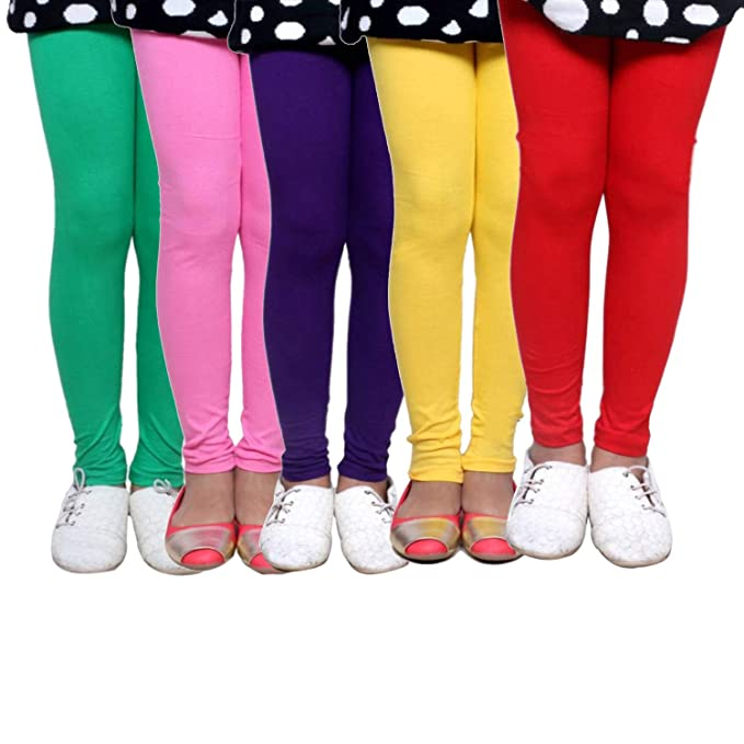 -Multiple Colors-5-6 Years Pack of 9 Indistar Big Girls Cotton Full Ankle Length Solid Leggings